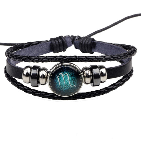 Image of 12 Constellation Zodiac Signs Bracelet beaded Handmade Charm Leather Bracelet Unisex