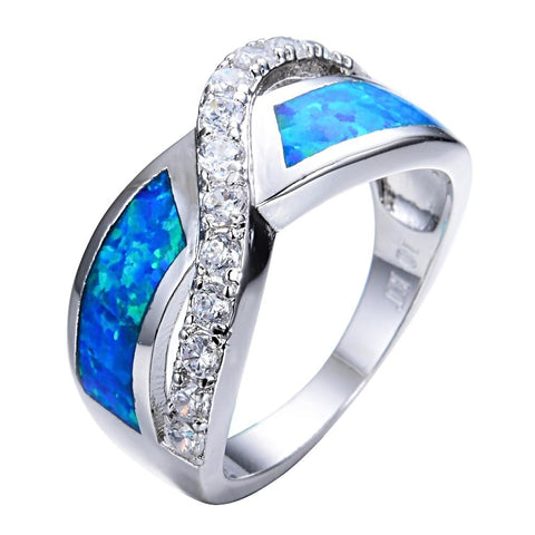 Stylish Blue Fire Opal Ring for Women born in October