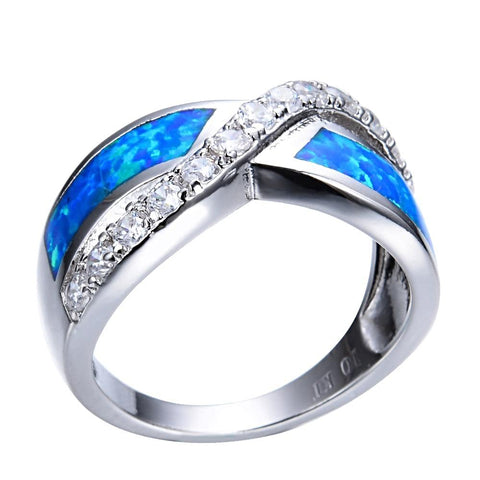Image of Stylish Blue Fire Opal Ring for Women born in October