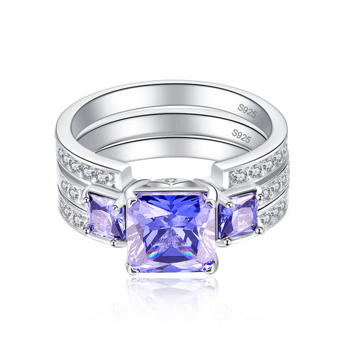 Image of Square Cut Tanzanite Ring for Women Born in December