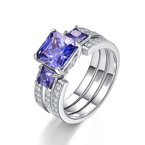 Square Cut Tanzanite Ring for Women Born in December