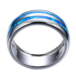 Stripes Ring in Blue Fire Opal