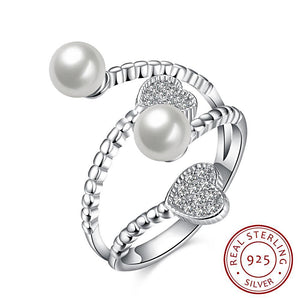 Adjustable Simulated Pearl Ring in Sterling Silver with Heart Cubic Zirconia for Women Born in June
