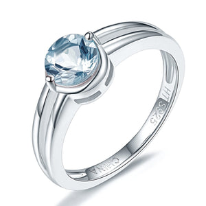 Tiny Round Cut Aquamarine Ring For Women Born in March