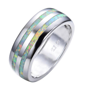 Stripes Ring in White Fire Opal