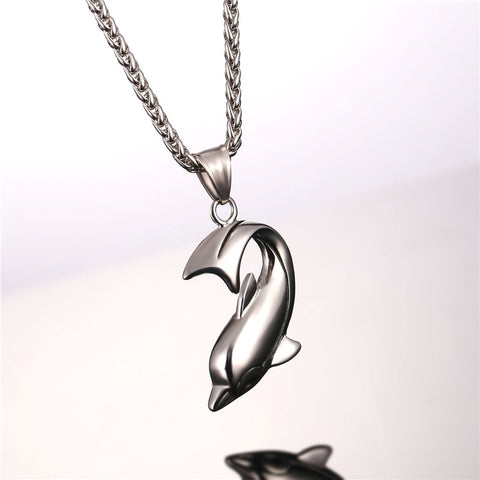 Image of Dolphin Necklace Silver Color Stainless Steel Pendant & Chain For Women