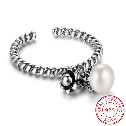 Image of Pearl & Flower Shape Adjustable Sterling Silver Rings For Women Born in June