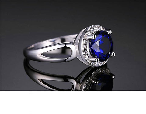 The Halo Ring in Blue Sapphire