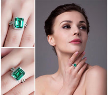 Rectangle Shape Emerald Sterling Silver Ring for Women Born in May