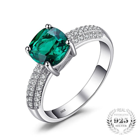 Cushion Cut Emerald Sterling Silver Ring for Women Born in May