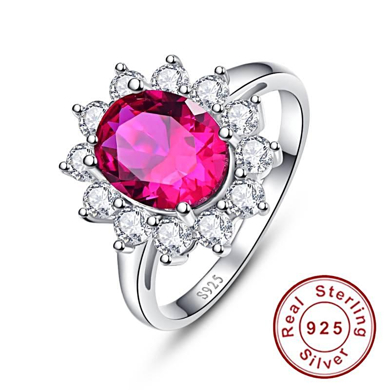 Flower Style Oval Cut Red Ruby Sterling Silver Ring for Women Born in July