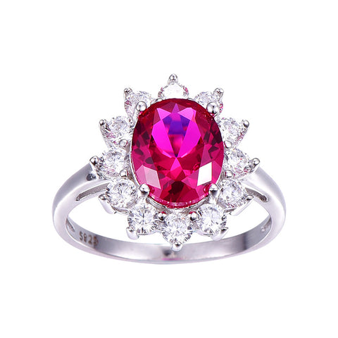 Image of Flower Style Oval Cut Red Ruby Sterling Silver Ring for Women Born in July