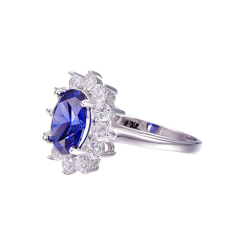 Image of 4.4ct Round Cut Tanzanite Ring for Women Born in December