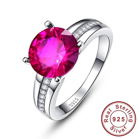 Image of Round Cut Classic Style Ruby Ring in Sterling Silver for Women Born in July