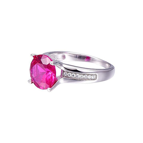 Round Cut Classic Style Ruby Ring in Sterling Silver for Women Born in July