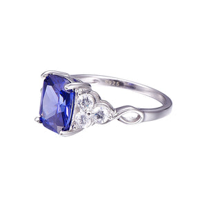 Exquisite Blue Tanzanite Ring For Women Born in December