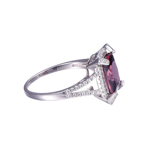 Genuine Red Garnet Ring For Women Born In January