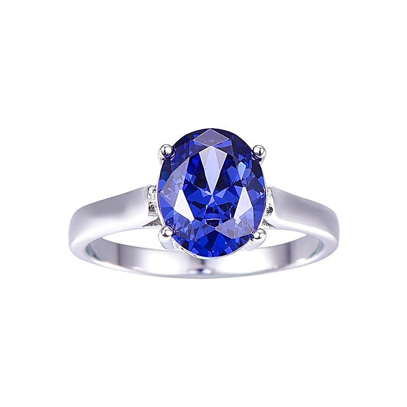 4.3carats Blue Topaz Ring for Women Born in November