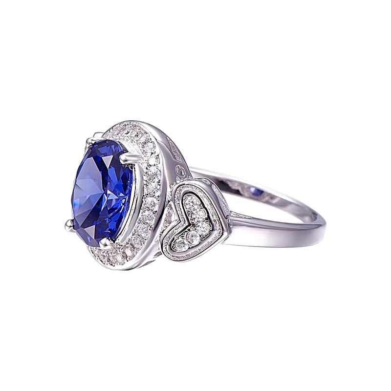 Double Heart 4.3ct Tanzanite Ring for Women Born in December