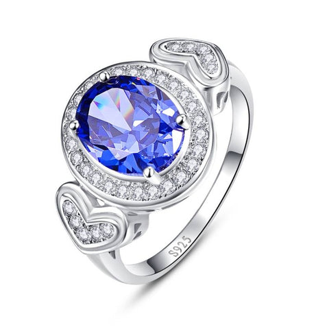 Image of Double Heart 4.3ct Tanzanite Ring for Women Born in December