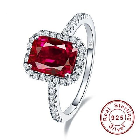 Image of Square Shape 3.6ct Pigeon Blood Red Ruby Ring in Sterling Silver for Women Born in July