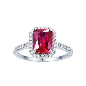 Square Shape 3.6ct Pigeon Blood Red Ruby Ring in Sterling Silver for Women Born in July