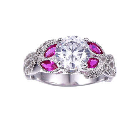 Ruby & White CZ Vintage Style Ring in Sterling Silver for Women Born in July