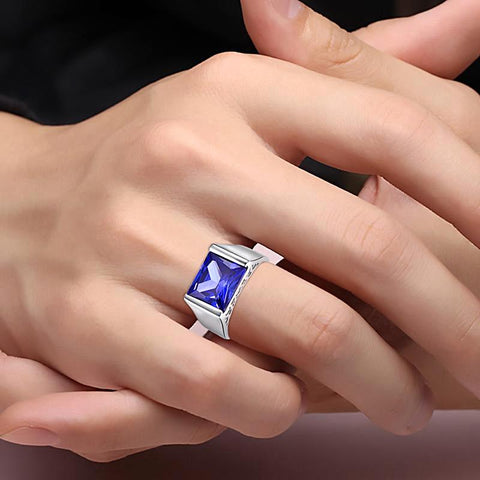 Image of Classic Square Cut Ring in Tanzanite for Women born in September
