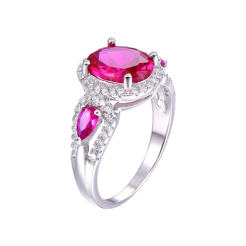 Round Cut Designer Ruby Ring in Sterling Silver for Women Born in July