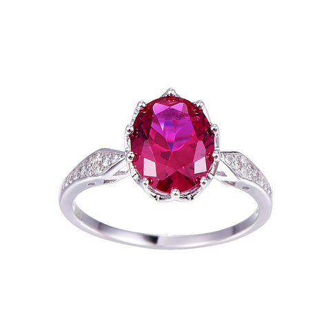 Image of Vintage Inspired Oval Cut Pink Ruby Ring in Sterling Silver for Women Born in July