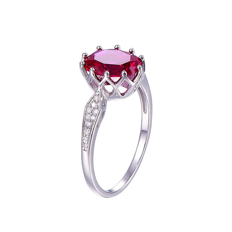 Vintage Inspired Oval Cut Pink Ruby Ring in Sterling Silver for Women Born in July