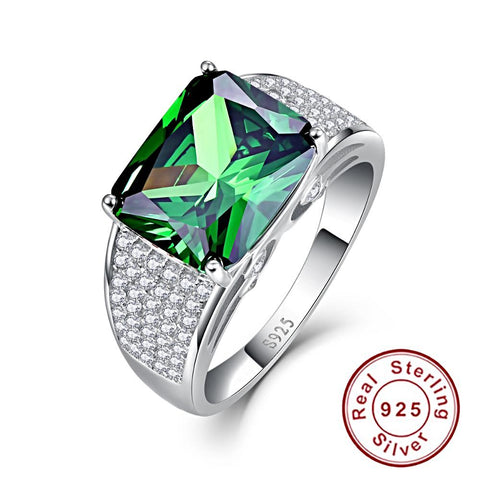 Image of Round Shape Emerald Sterling Silver Ring for Women Born in May