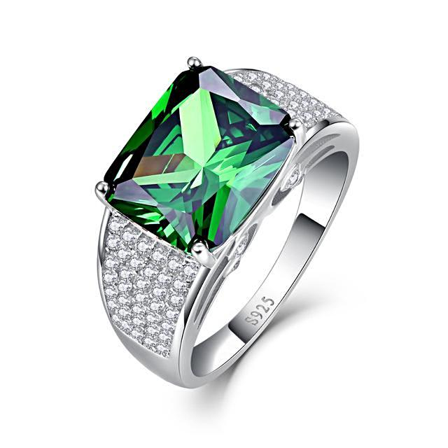 Round Shape Emerald Sterling Silver Ring for Women Born in May