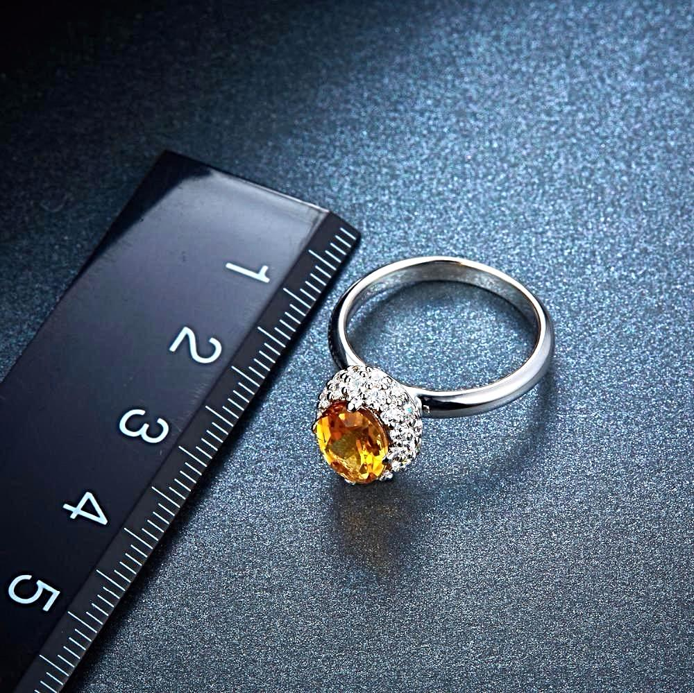 1.63 ct Round Cut Citrine Ring For Women Born in November
