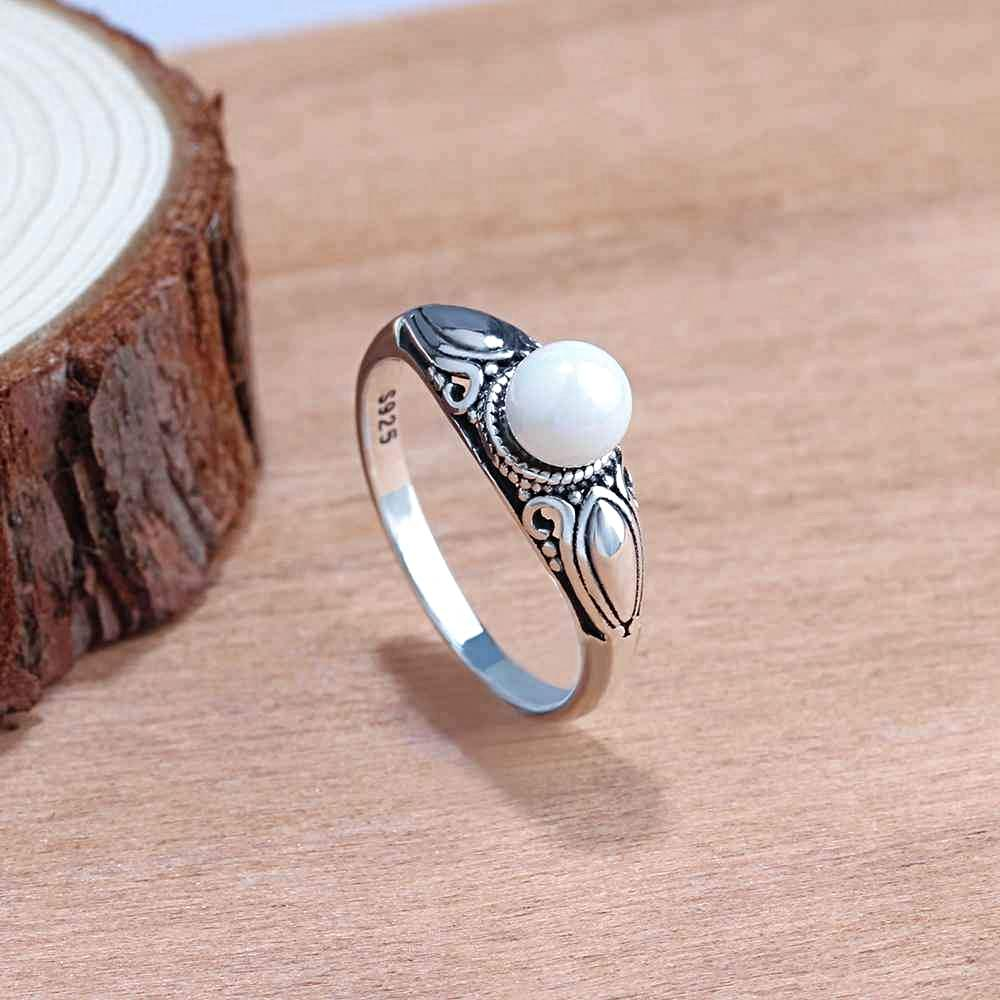 Designer Pearl Ring in Vintage Style Sterling Silver for Women Born ...