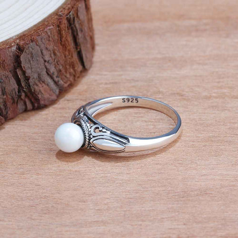 Designer Pearl Ring in Vintage Style Sterling Silver for Women Born in June