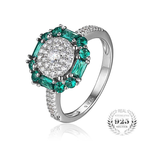 Image of Vintage Fine Emerald Sterling Silver Ring for Women Born in May