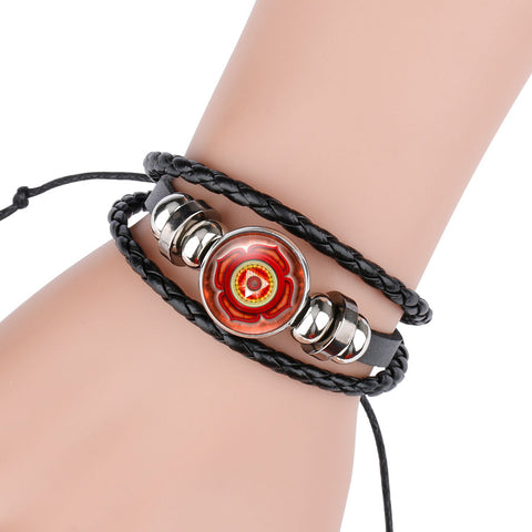 Image of Seven Chakra Yoga Reiki Healing Spiritual Glass Cabochon Leather, Charm Braided Multi-layer Bracelet