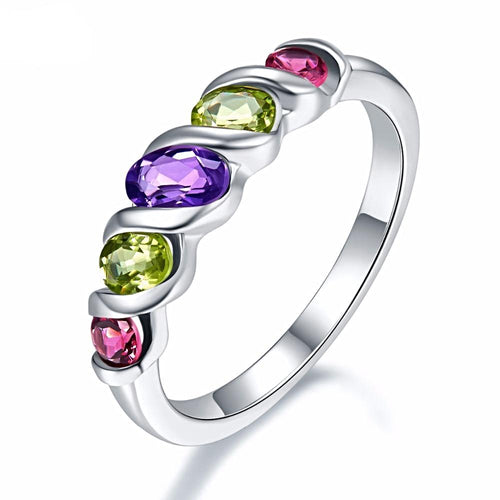 Unique Multi-stone Sterling Silver Ring with power of Amethyst Peridot Rhodolite Garnet for Women