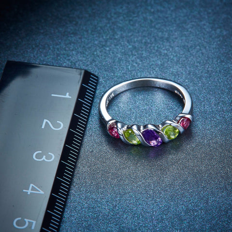 Image of Unique Multi-stone Sterling Silver Ring with power of Amethyst Peridot Rhodolite Garnet for Women