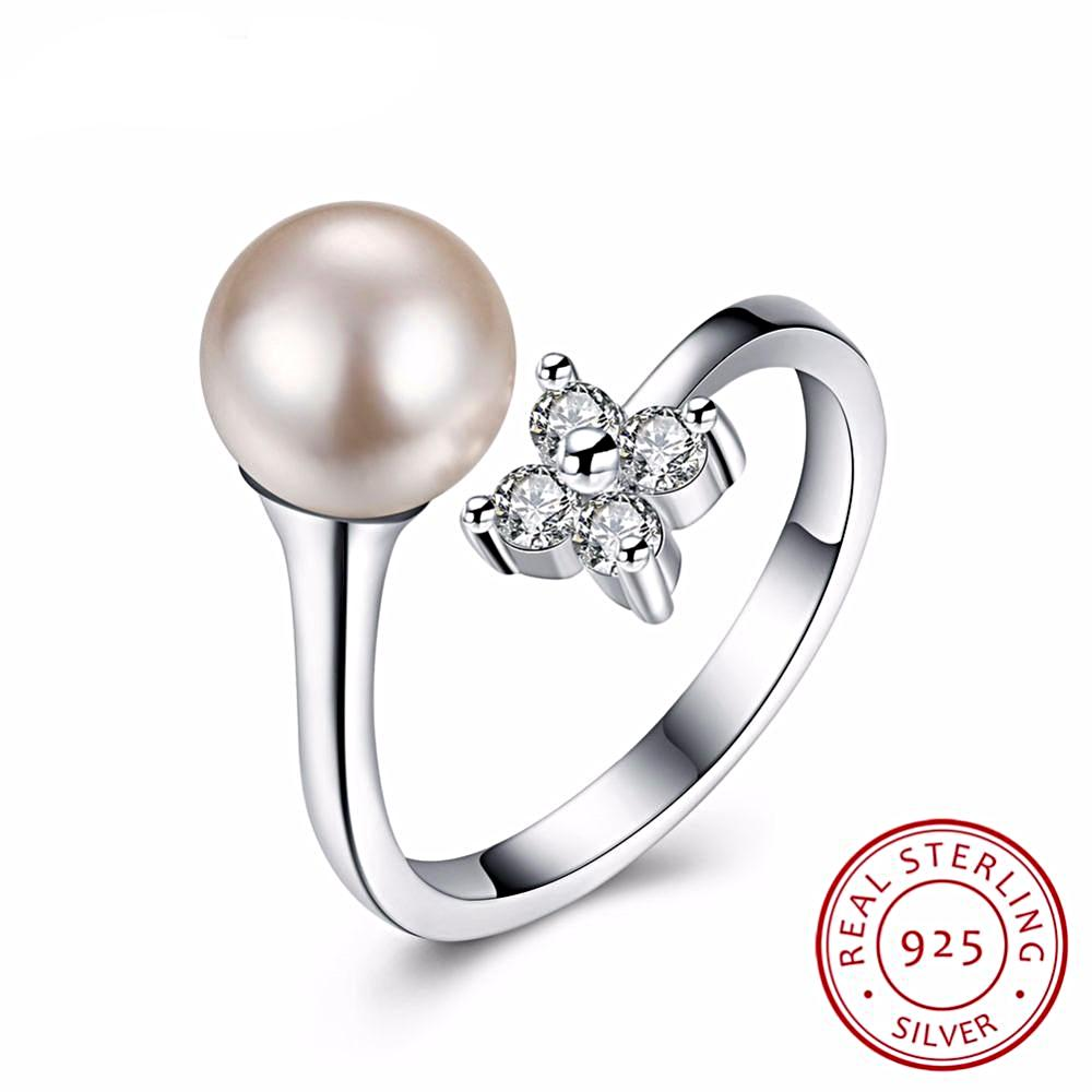 Vintage Style Adjustable Pearl Ring in Sterling Silver for Women Born in June