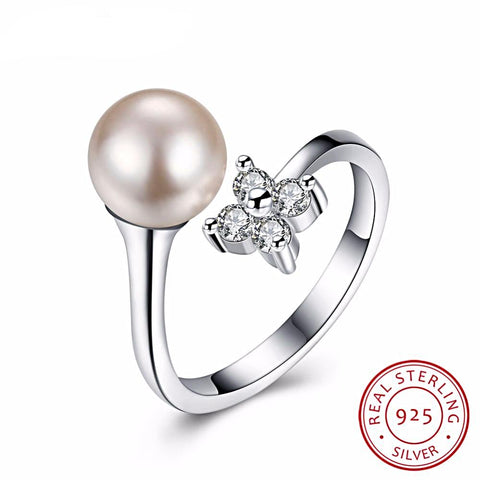 Image of Vintage Style Adjustable Pearl Ring in Sterling Silver for Women Born in June