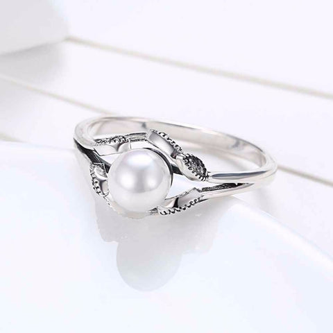 Simulated Pearl ring in Sterling Silver with Cubic Zirconia for Women Born in June