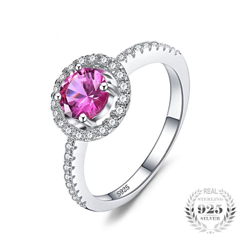 Round Pink Sapphire Ring for Women born in September