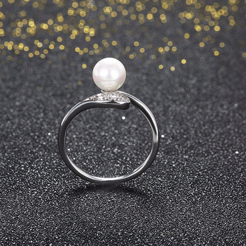 Adjustable Designer Pearl & Zircon Ring in Sterling Silver for Women Born in June