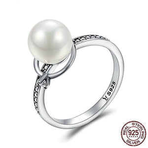 Pearl & Luminous CZ Ring in Sterling Silver for Women Born in June