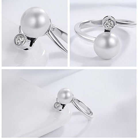 Stylish Pearl Ring with Secondary Stone Ring for Women Born in June