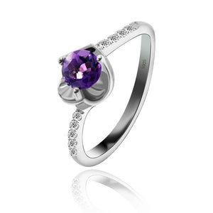 Designer Heart Shape Ring with Amethyst Gemstone for Women Born in February