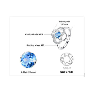 0.74ct Blue Topaz Ring For Women Born in November