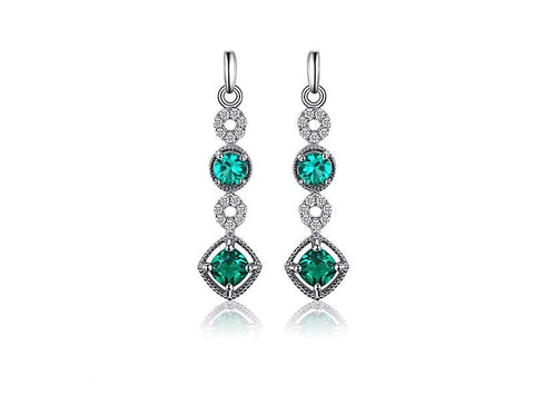 Image of The Long Drop Earrings in Emerald